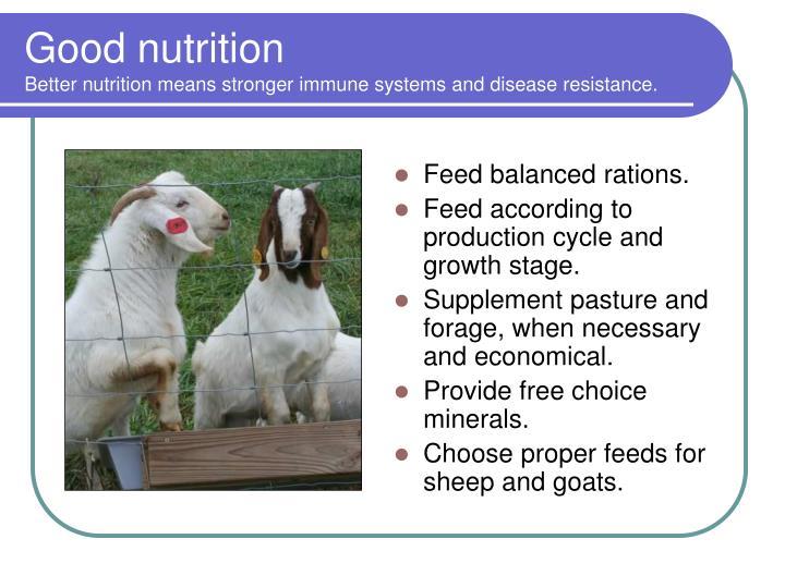 Feed balanced rations.