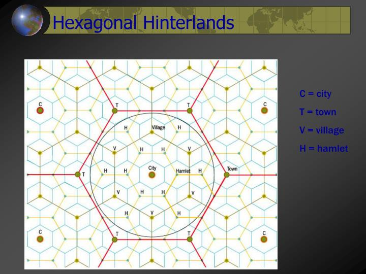 Hexagonal Hinterlands