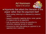 ad hominem appeal to the person