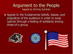 argument to the people appeal to stirring symbols