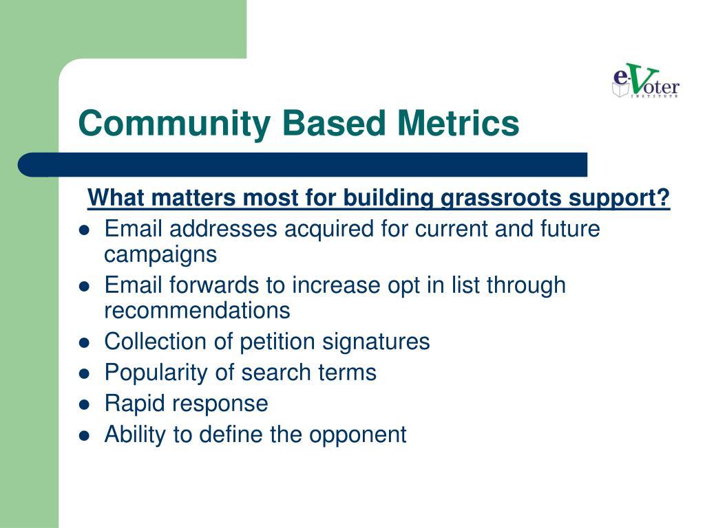 Community Based Metrics