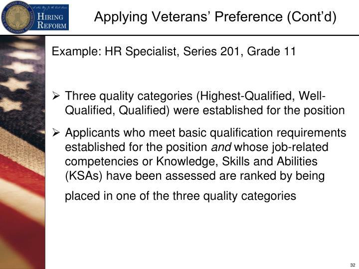 Example: HR Specialist, Series 201, Grade 11