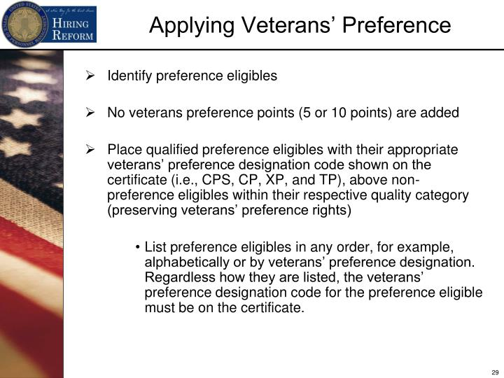 Identify preference eligibles