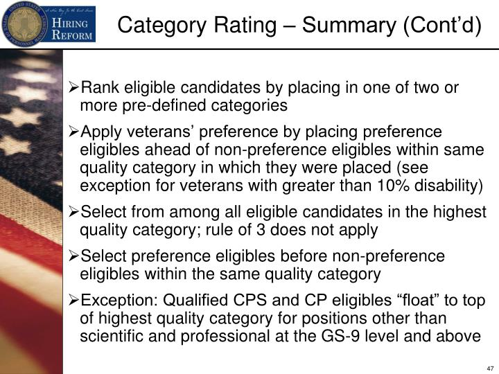 Rank eligible candidates by placing in one of two or more pre-defined categories