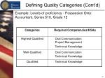 defining quality categories cont d11