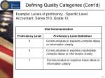 defining quality categories cont d12