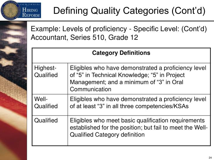 Example: Levels of proficiency - Specific Level: (Cont'd)