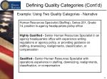 defining quality categories cont d5