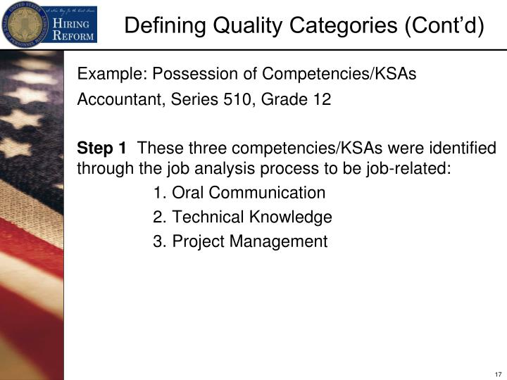 Example: Possession of Competencies/KSAs