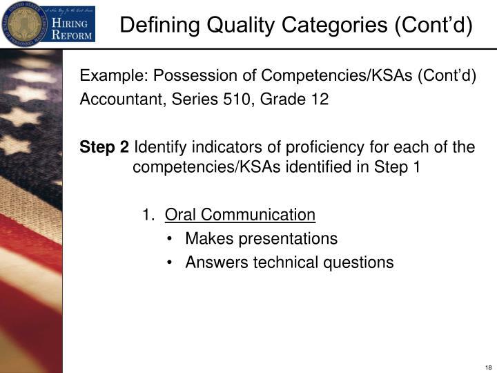 Example: Possession of Competencies/KSAs (Cont'd)