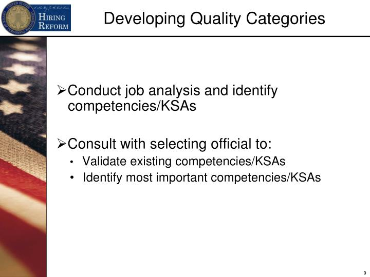 Conduct job analysis and identify competencies/KSAs