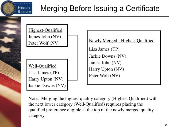 Merging Before Issuing a Certificate