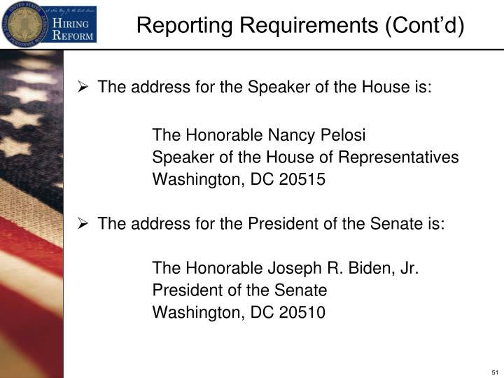 The address for the Speaker of the House is: