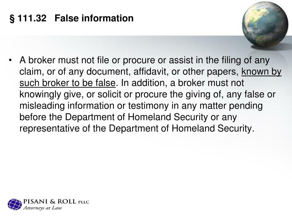 §111.32False information