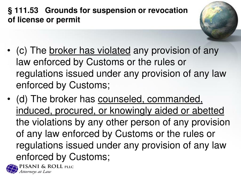 §111.53Grounds for suspension or revocation of license or permit