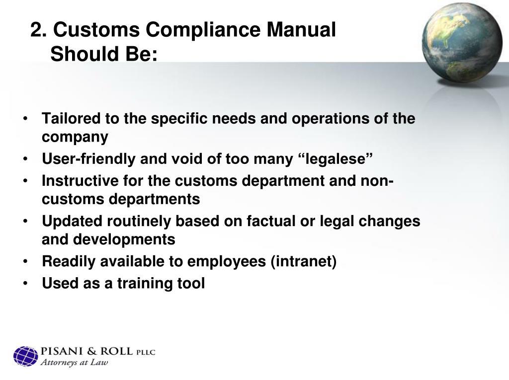 2. Customs Compliance Manual