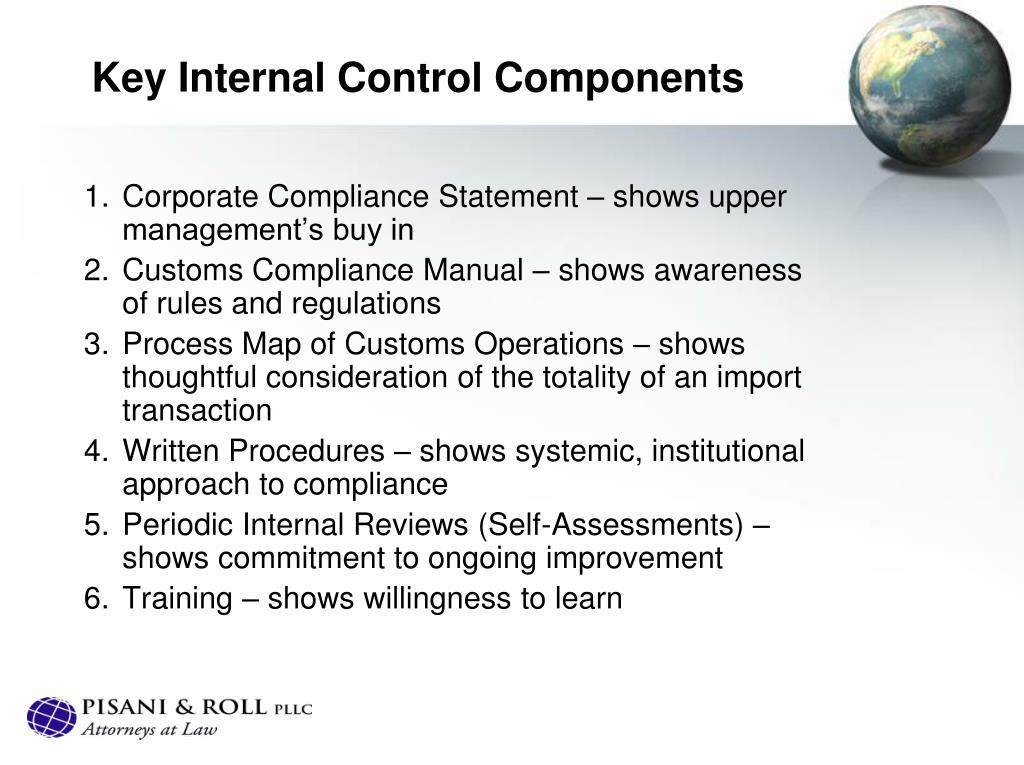 Key Internal Control Components