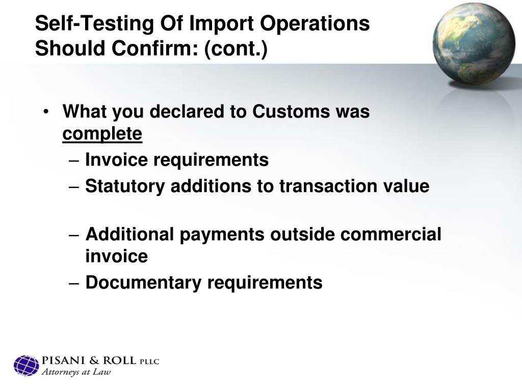 Self-Testing Of Import Operations Should Confirm: (cont.)