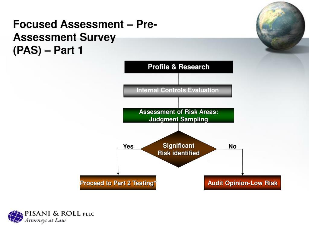 Focused Assessment – Pre-Assessment Survey