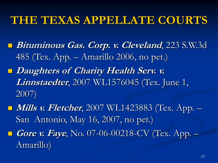 THE TEXAS APPELLATE COURTS