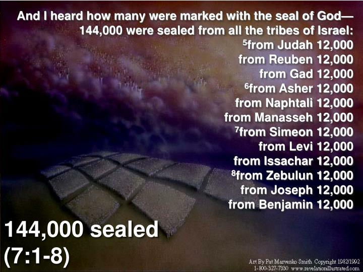 And I heard how many were marked with the seal of God— 144,000 were sealed from all the tribes of Israel: