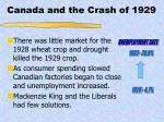 canada and the crash of 1929