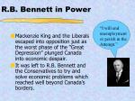 r b bennett in power