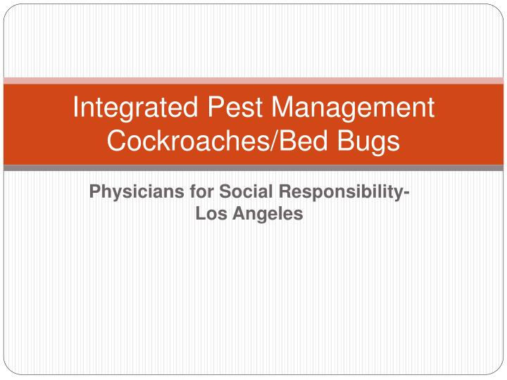 Integrated pest management cockroaches bed bugs
