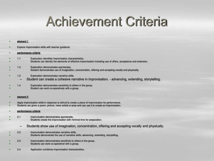 Achievement Criteria