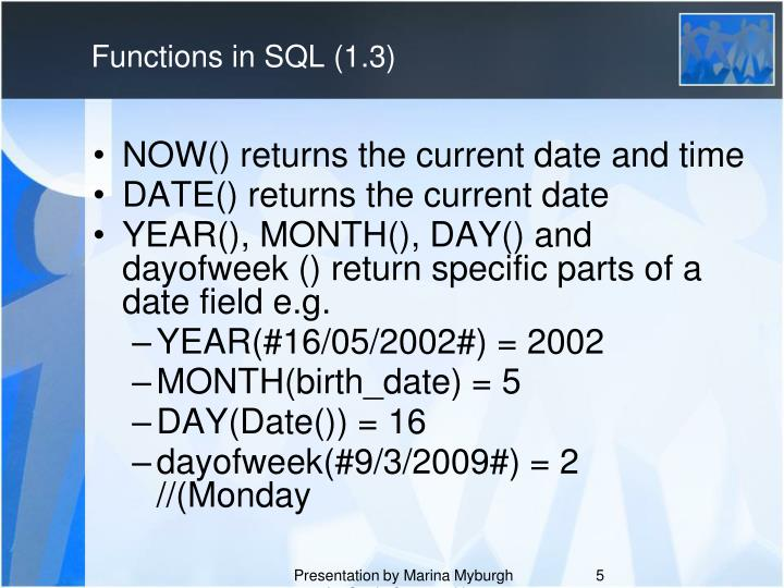 Functions in SQL (1.3)