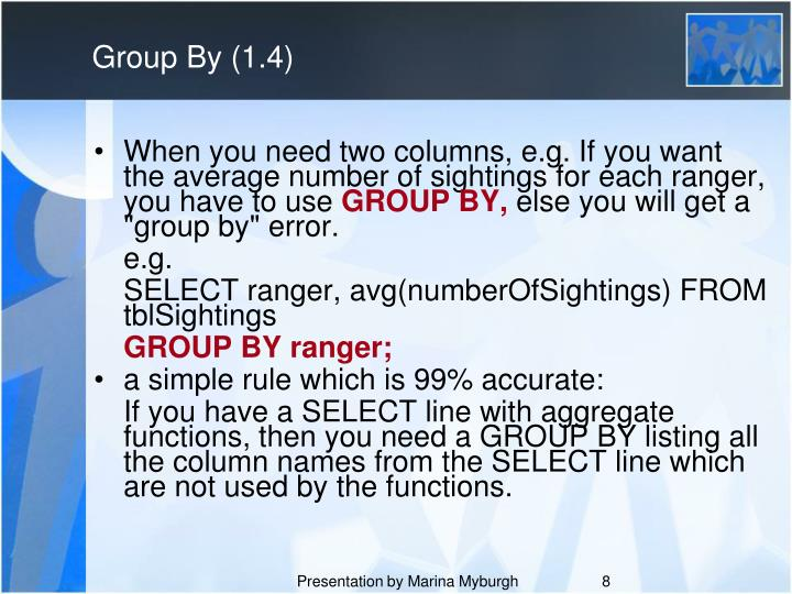 Group By (1.4)