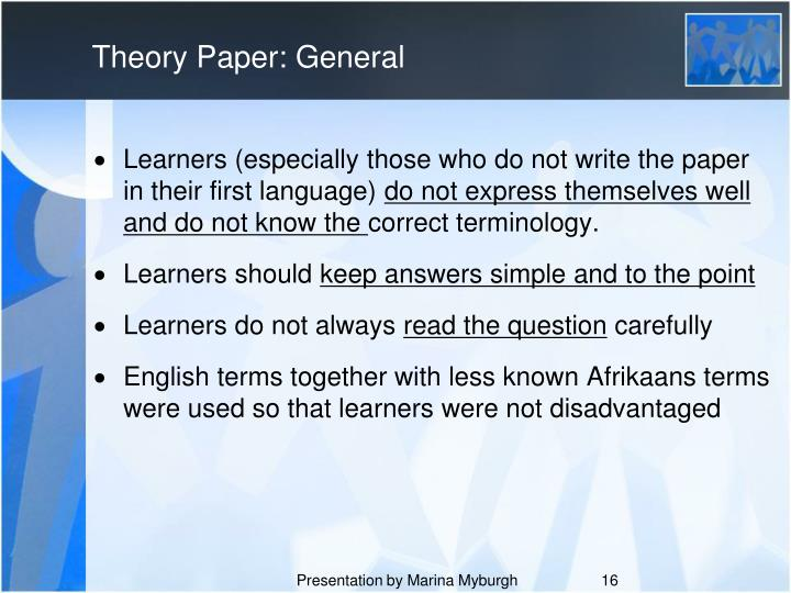 Theory Paper: General