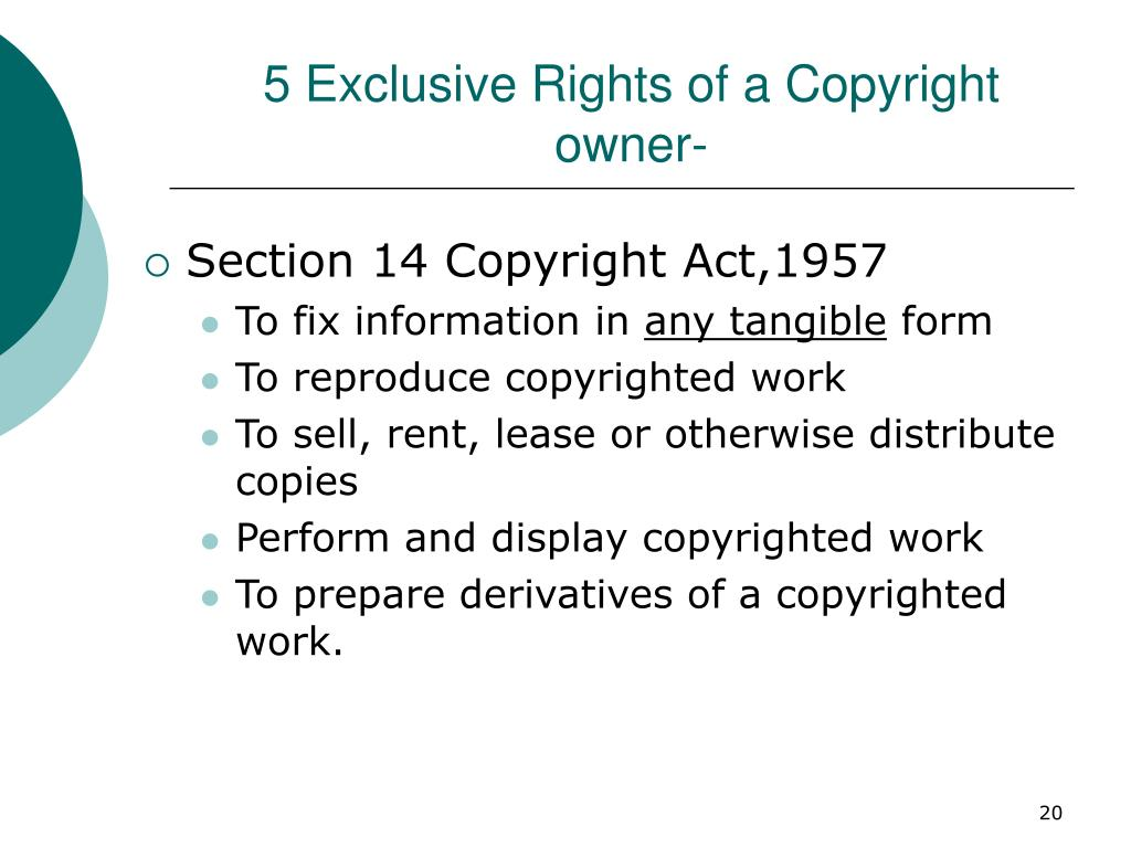 5 Exclusive Rights of a Copyright owner-