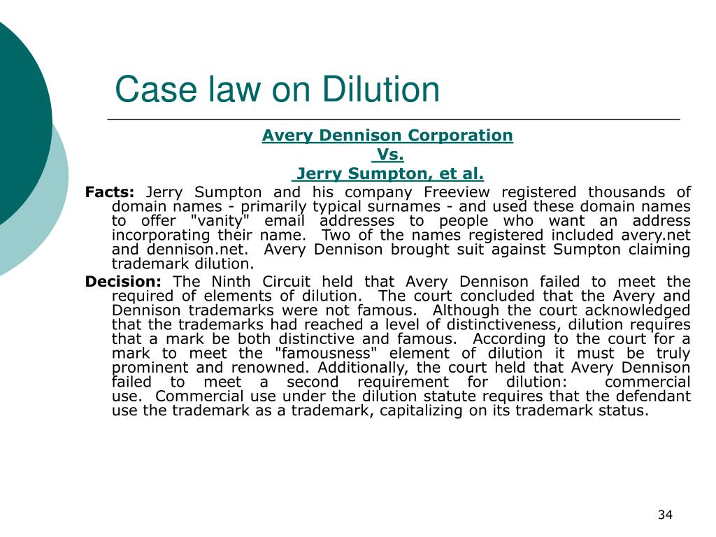 Case law on Dilution
