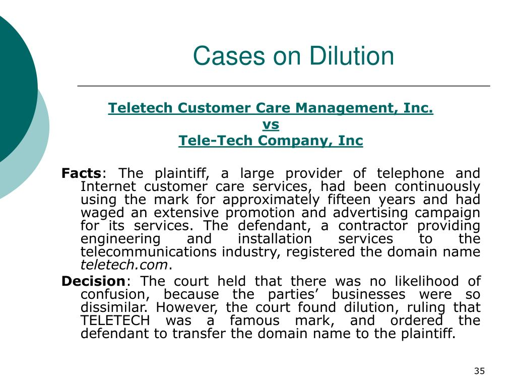 Cases on Dilution