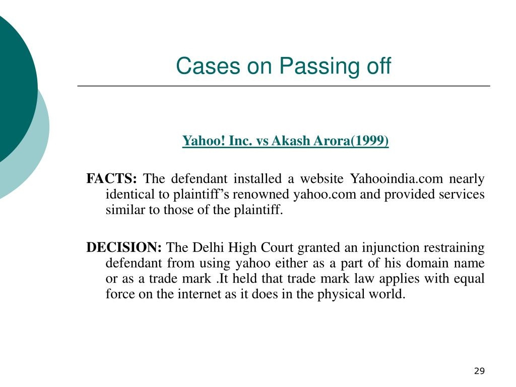 Cases on Passing off