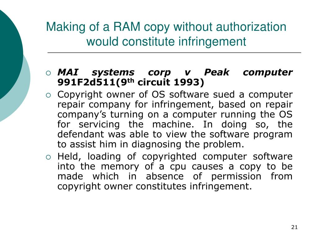 Making of a RAM copy without authorization would constitute infringement