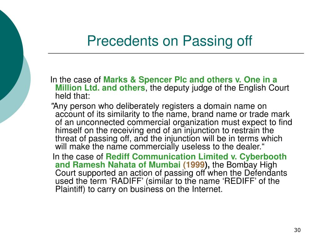 Precedents on Passing off