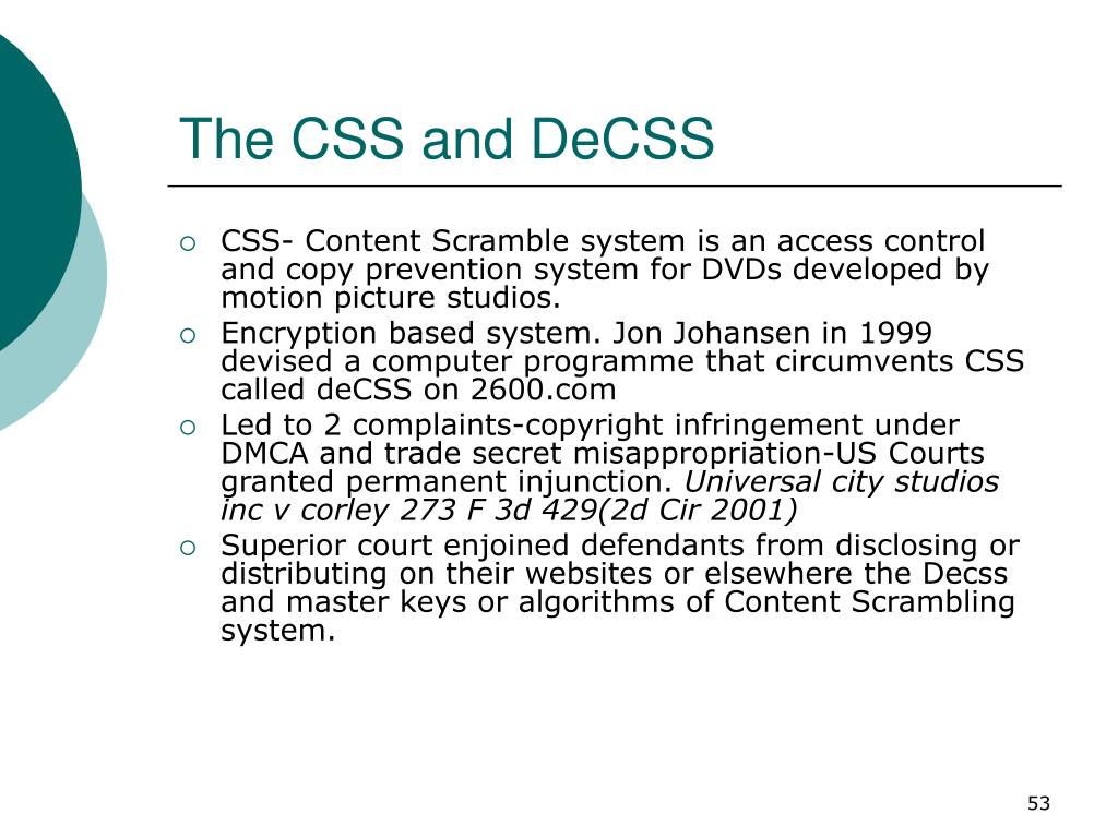 The CSS and DeCSS
