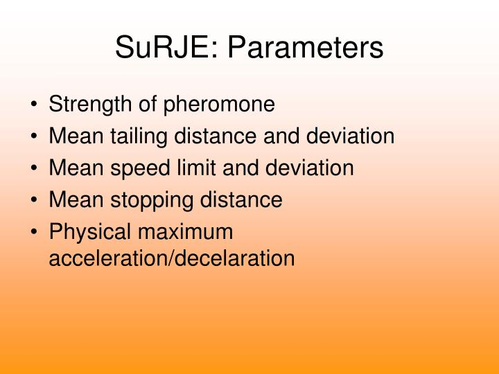SuRJE: Parameters
