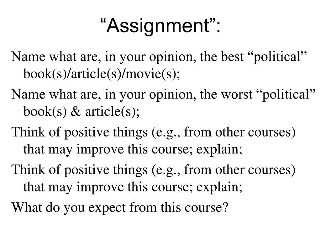 """Assignment"":"