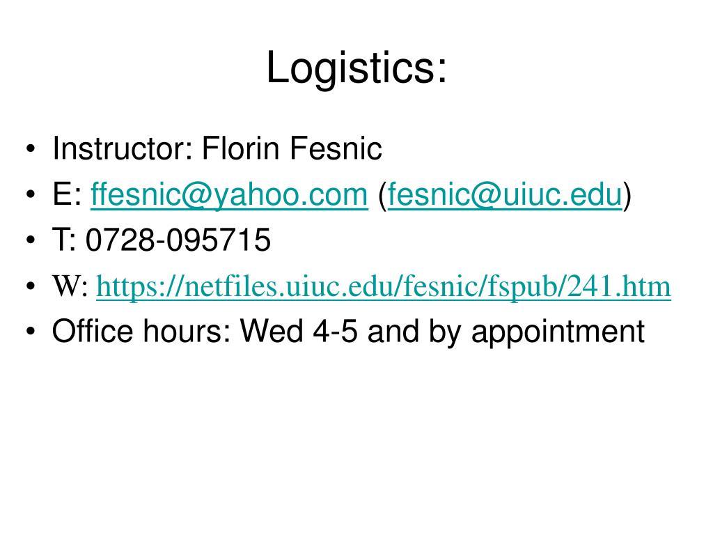 Logistics: