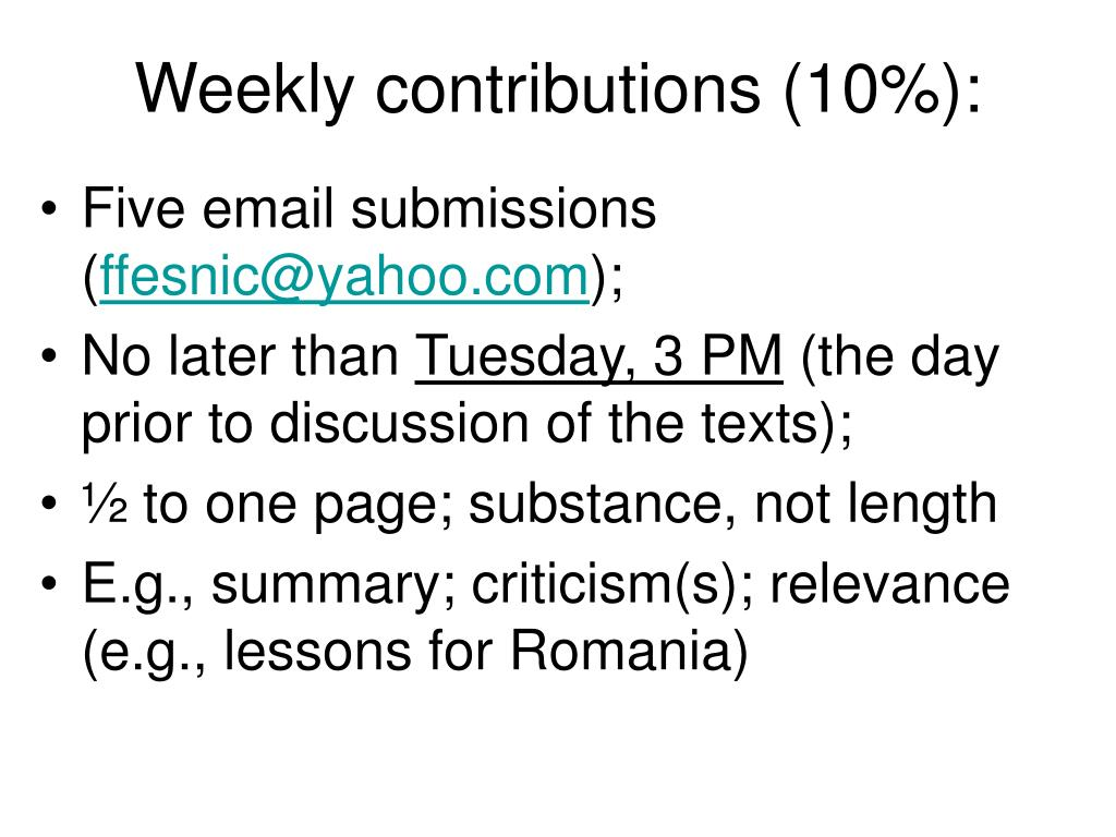 Weekly contributions (10%):