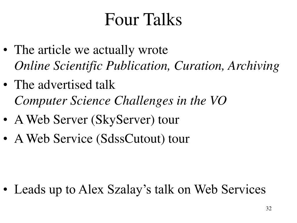 Four Talks