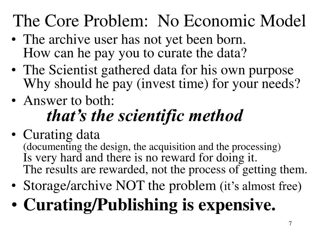The Core Problem:  No Economic Model