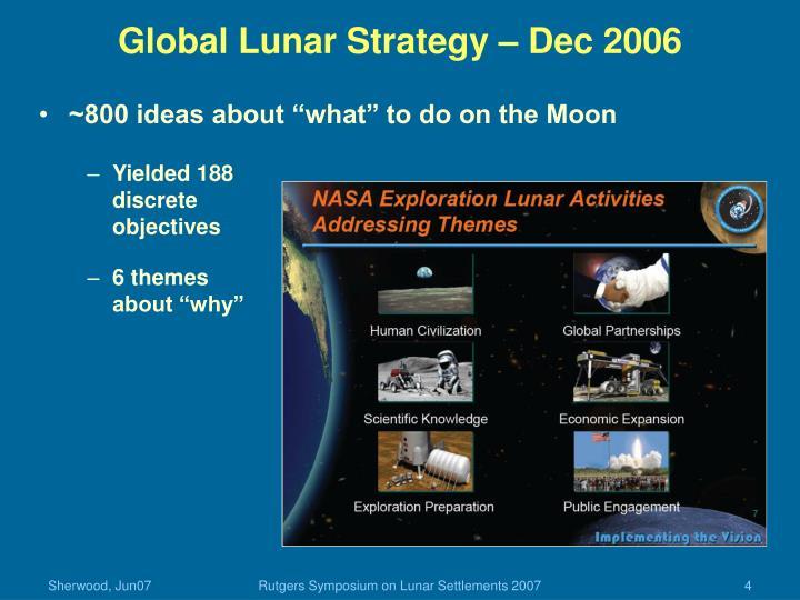 Global Lunar Strategy – Dec 2006
