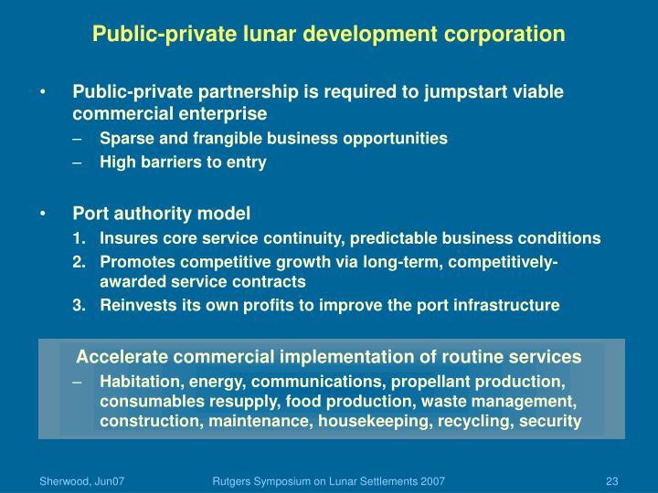 Public-private lunar development corporation