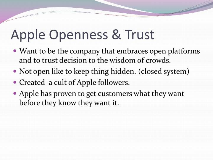 Apple Openness & Trust