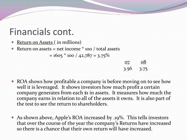 Financials cont.