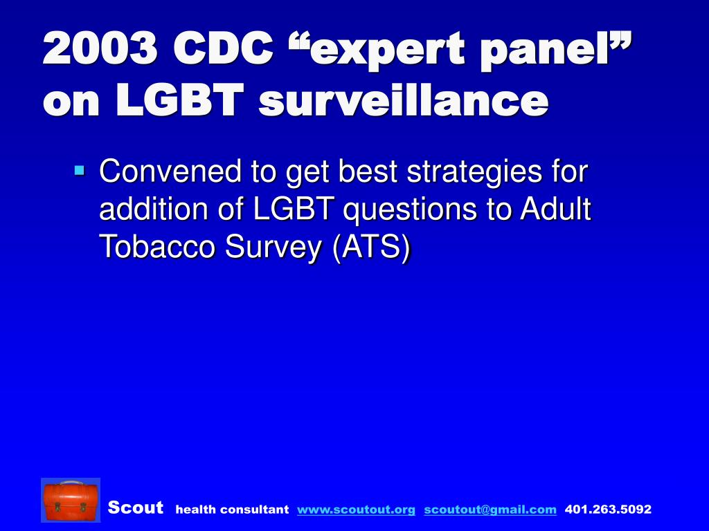 "2003 CDC ""expert panel"" on LGBT surveillance"